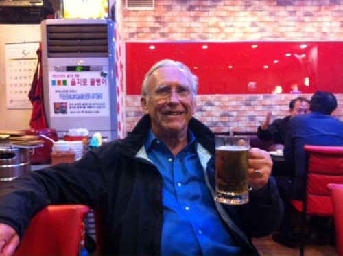 Dad's first beer in Korea at a chicken hof after getting off the airport bus