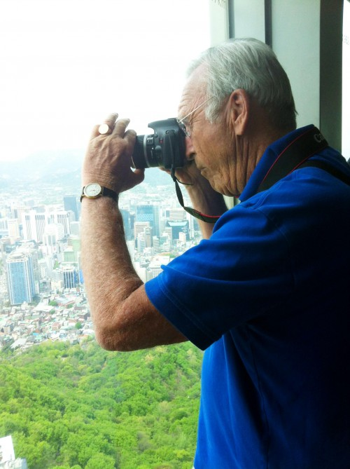 Dad gets a birds-eye view of Seoul from Seoul Tower