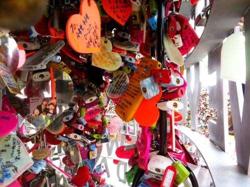 For some reason people leave a shitload of padlocks at the base of Seoul Tower